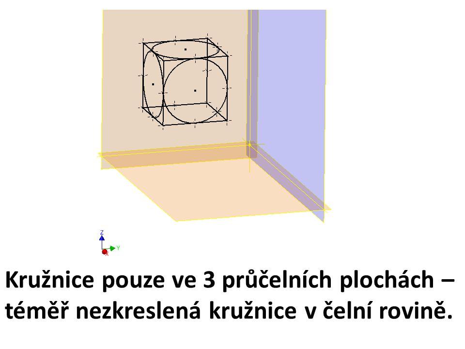 Kružnice pouze ve 3 průčelních plochách –téměř nezkreslená kružnice v čelní rovině.