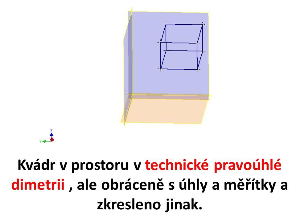 Kvádr v prostoru v technické pravoúhlé dimetrii , ale obráceně s úhly a měřítky a zkresleno jinak.