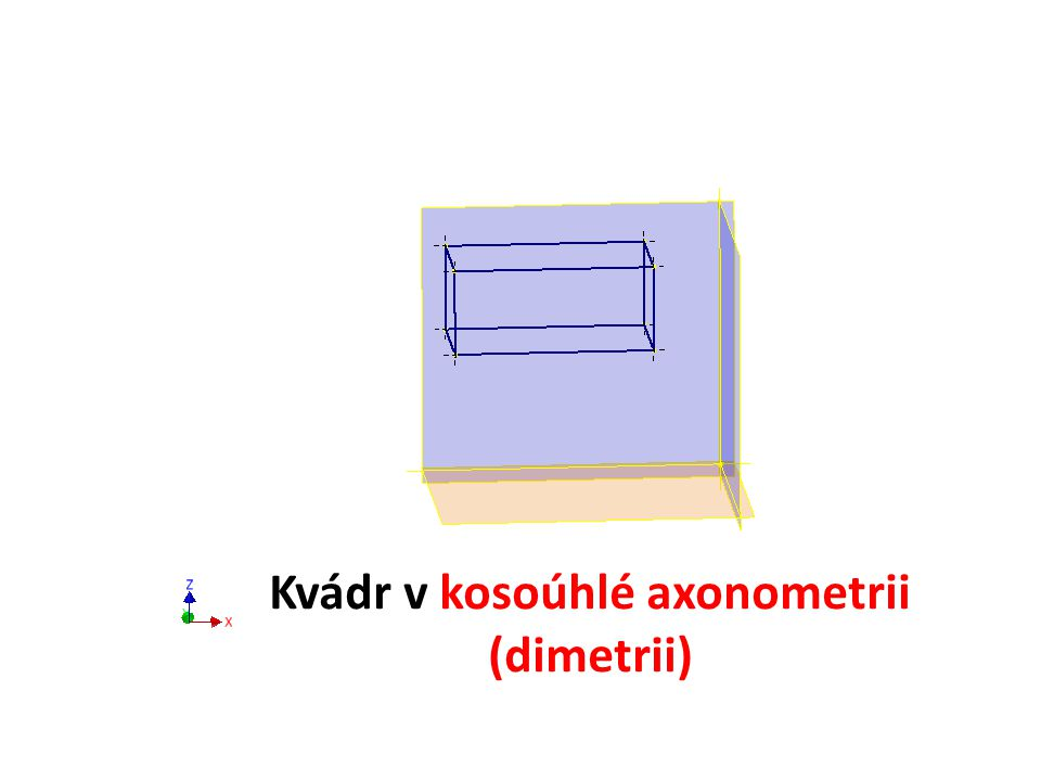 Kvádr v kosoúhlé axonometrii (dimetrii)