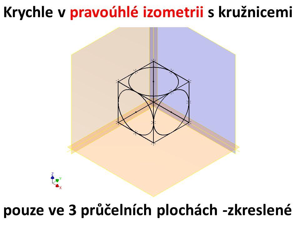Krychle v pravoúhlé izometrii s kružnicemi