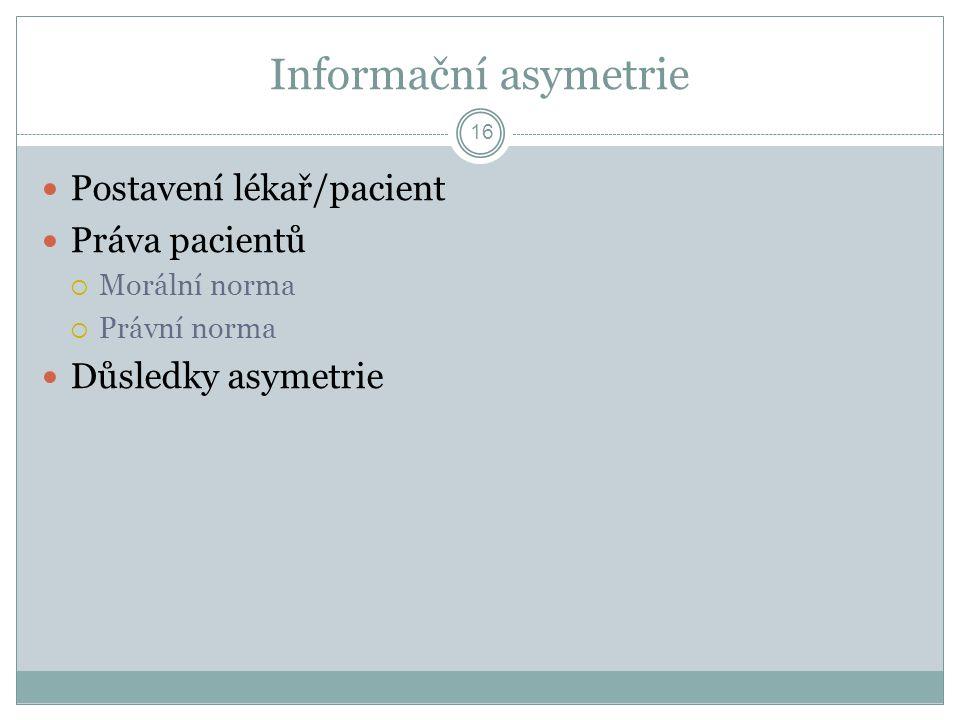 Informační asymetrie Postavení lékař/pacient Práva pacientů