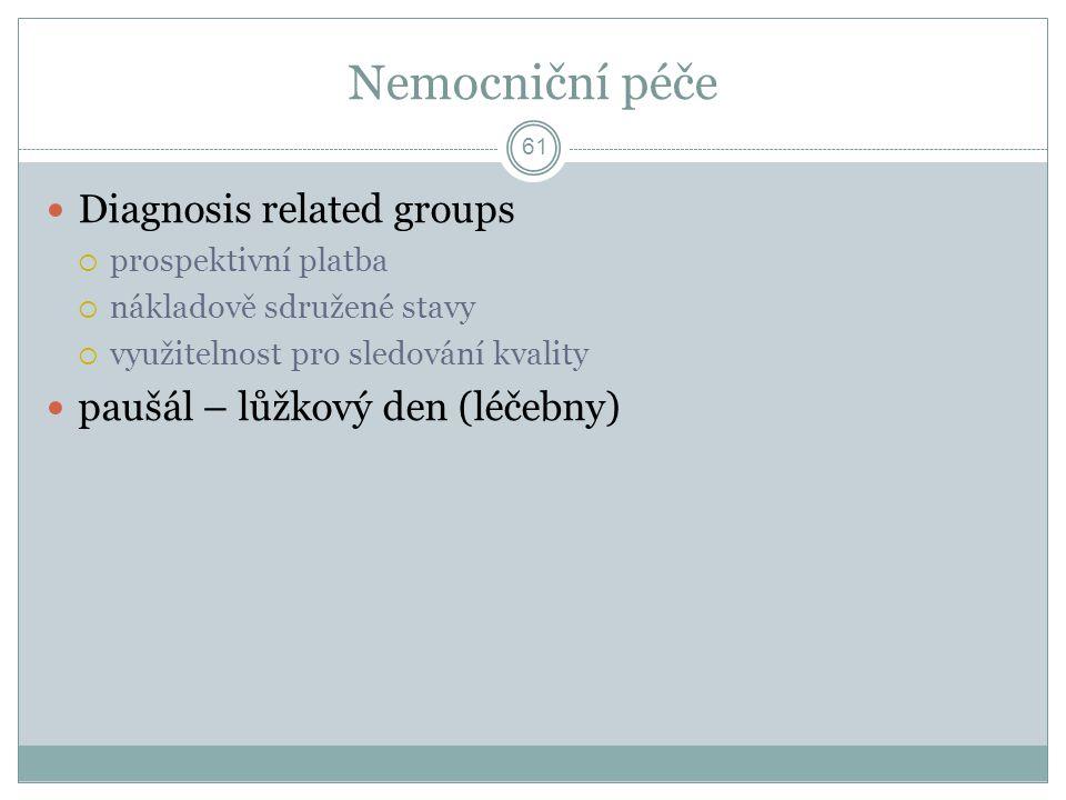 Nemocniční péče Diagnosis related groups