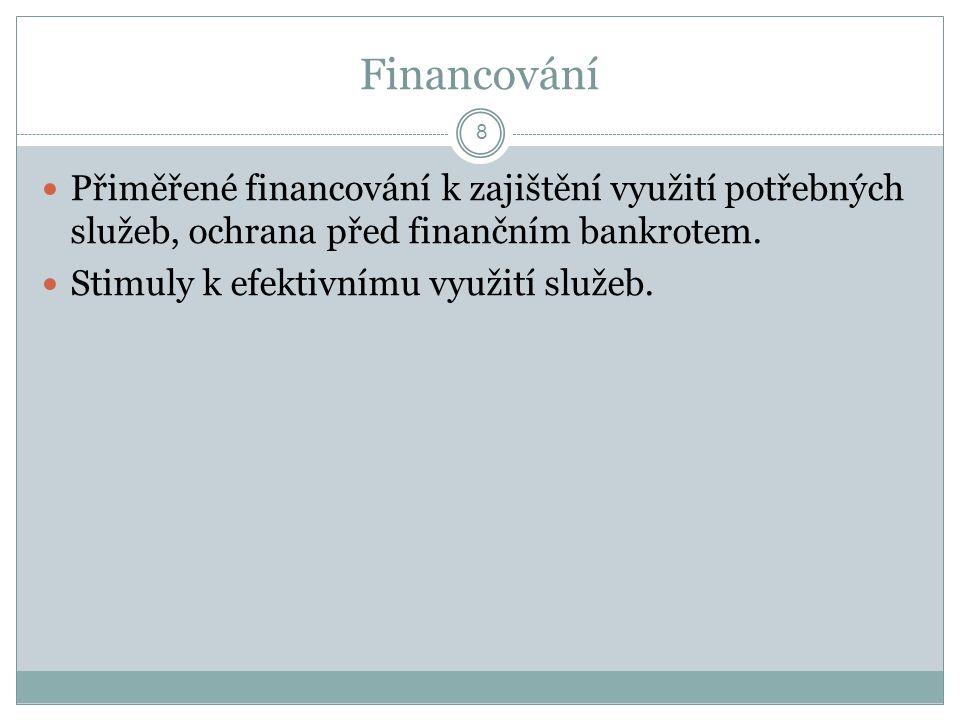 Financování Přiměřené financování k zajištění využití potřebných služeb, ochrana před finančním bankrotem.