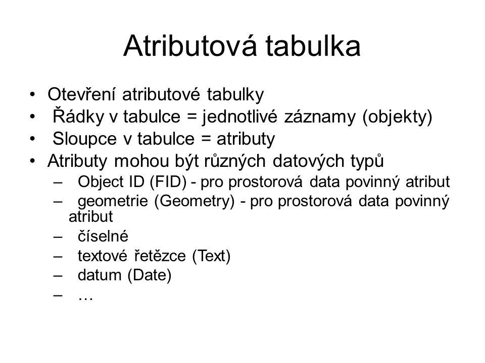 Atributová tabulka Otevření atributové tabulky
