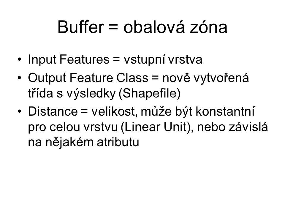 Buffer = obalová zóna Input Features = vstupní vrstva