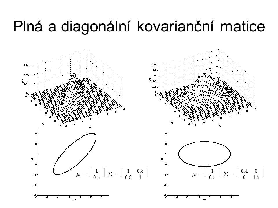Plná a diagonální kovarianční matice