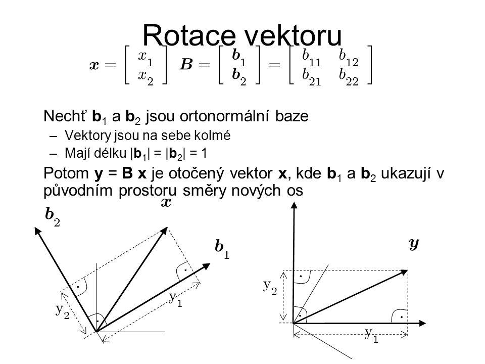 Rotace vektoru x b x = · ¸ B b Nechť b1 a b2 jsou ortonormální baze