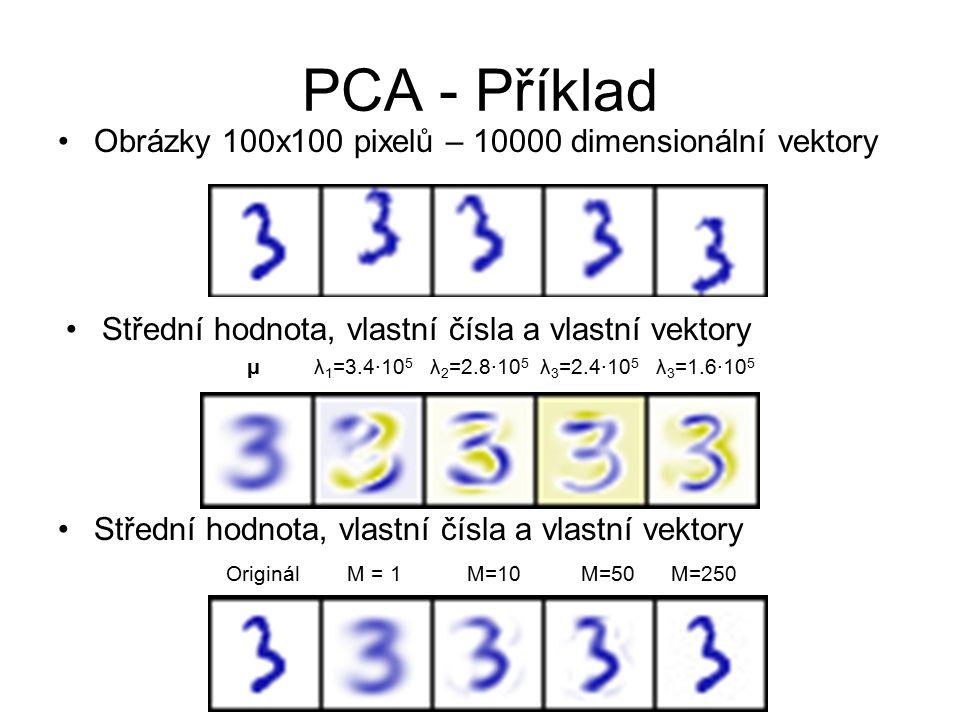 PCA - Příklad Obrázky 100x100 pixelů – 10000 dimensionální vektory