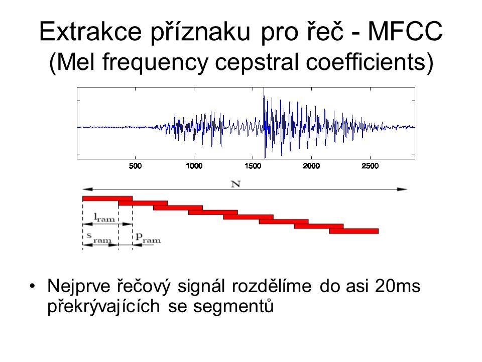 Extrakce příznaku pro řeč - MFCC (Mel frequency cepstral coefficients)