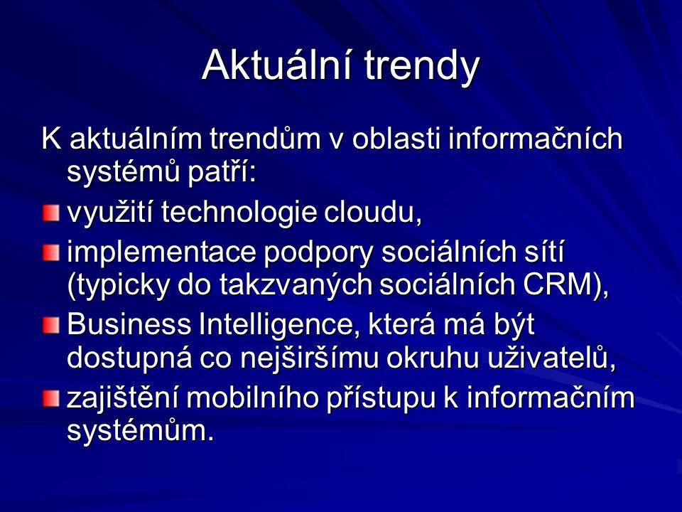Aktuální trendy K aktuálním trendům v oblasti informačních systémů patří: využití technologie cloudu,