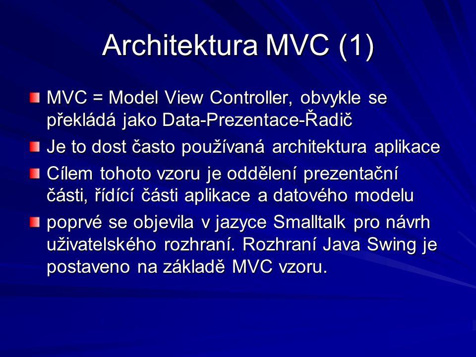 Architektura MVC (1) MVC = Model View Controller, obvykle se překládá jako Data-Prezentace-Řadič. Je to dost často používaná architektura aplikace.