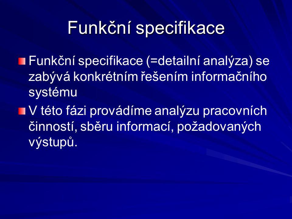 Funkční specifikace Funkční specifikace (=detailní analýza) se zabývá konkrétním řešením informačního systému.