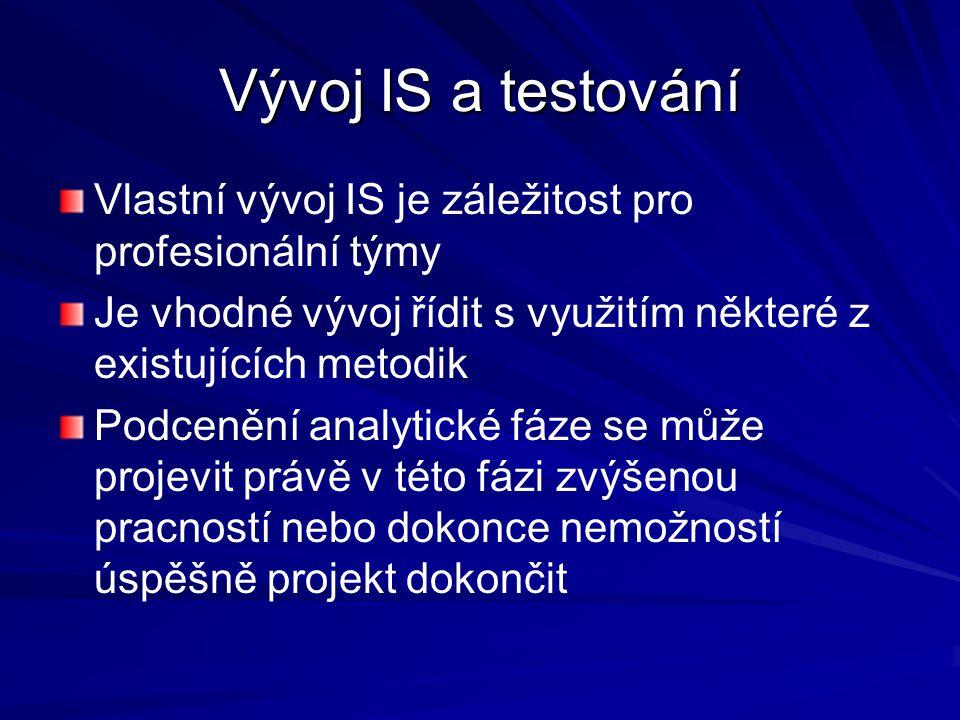 Vývoj IS a testování Vlastní vývoj IS je záležitost pro profesionální týmy. Je vhodné vývoj řídit s využitím některé z existujících metodik.