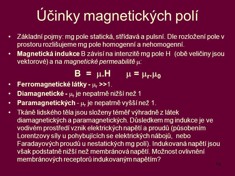 Účinky magnetických polí