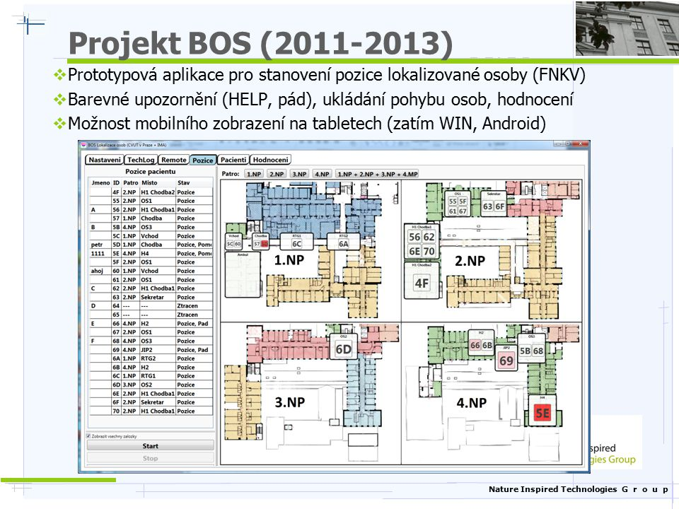 Projekt BOS (2011-2013) Prototypová aplikace pro stanovení pozice lokalizované osoby (FNKV)