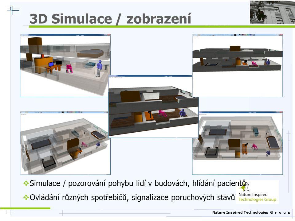 3D Simulace / zobrazení Simulace / pozorování pohybu lidí v budovách, hlídání pacientů.