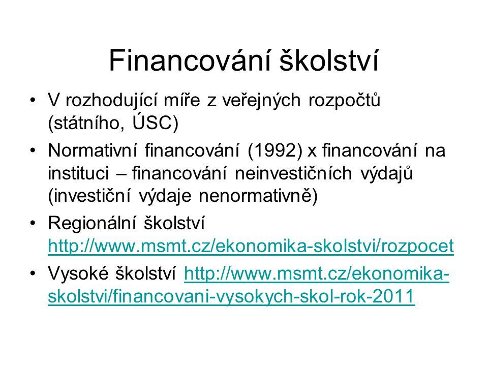 Financování školství V rozhodující míře z veřejných rozpočtů (státního, ÚSC)