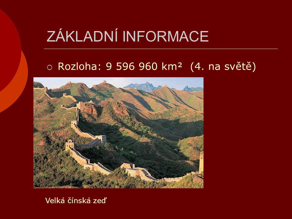 ZÁKLADNÍ INFORMACE Rozloha: 9 596 960 km² (4. na světě)