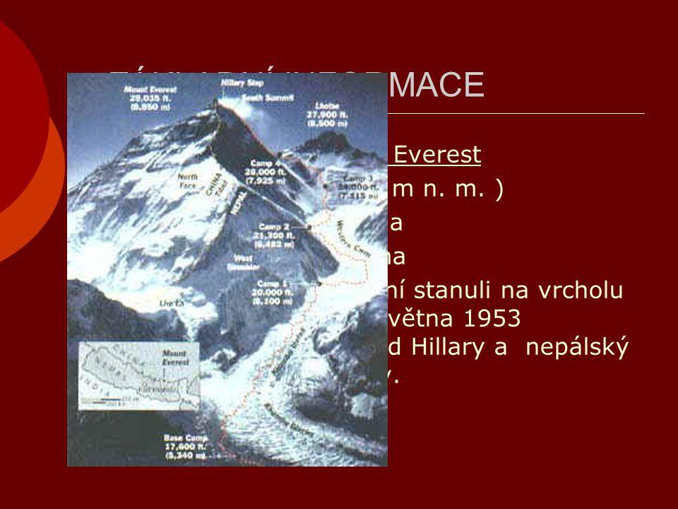 ZÁKLADNÍ INFORMACE Nejvyšší bod: Mount Everest (8 844,43 m n. m. )