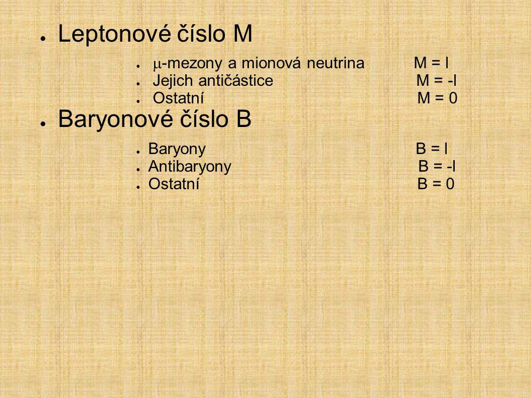 Leptonové číslo M Baryonové číslo B m-mezony a mionová neutrina M = l