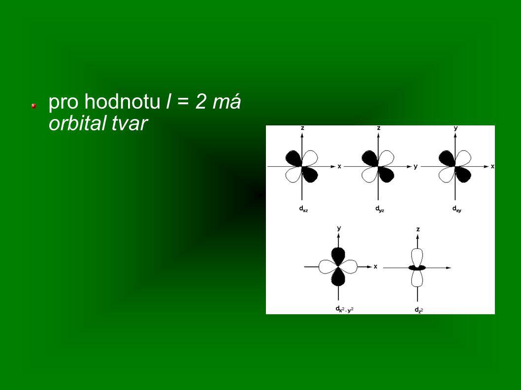 pro hodnotu l = 2 má orbital tvar