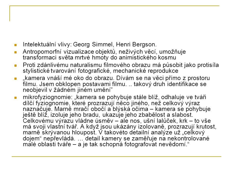 Intelektuální vlivy: Georg Simmel, Henri Bergson.