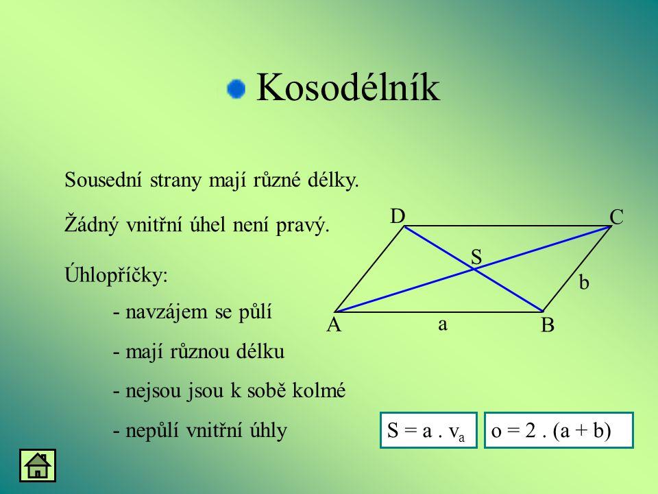 Kosodélník Sousední strany mají různé délky. A B D C b a S