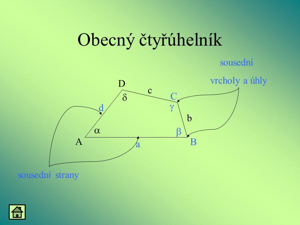 Obecný čtyřúhelník sousední vrcholy a úhly D c d C g a b A B