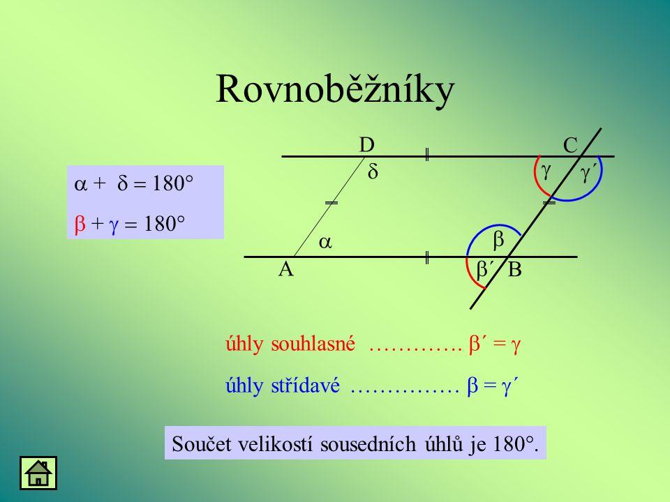 Rovnoběžníky A B D C a g d b b´ g´ + d = 180° b + g = 180°