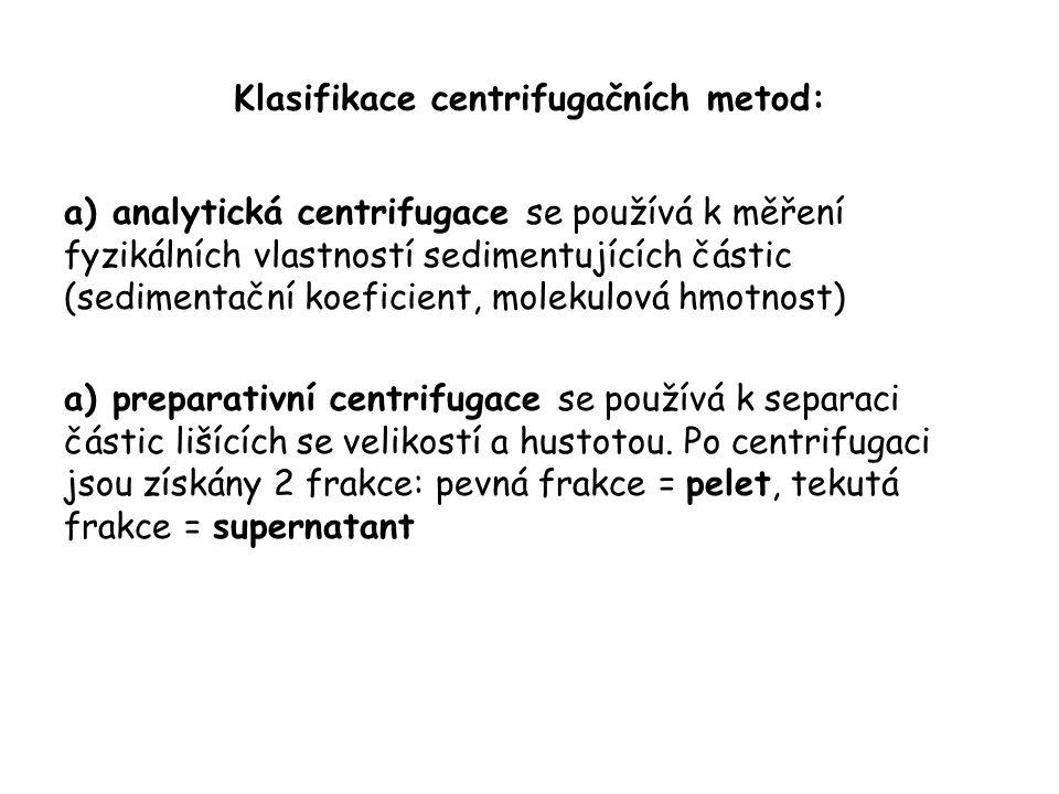 Klasifikace centrifugačních metod:
