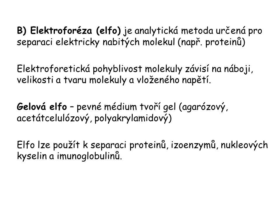 B) Elektroforéza (elfo) je analytická metoda určená pro separaci elektricky nabitých molekul (např. proteinů)