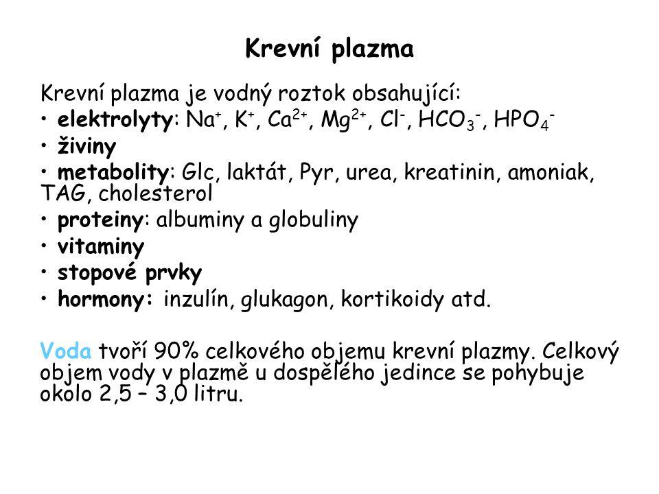 Krevní plazma Krevní plazma je vodný roztok obsahující: