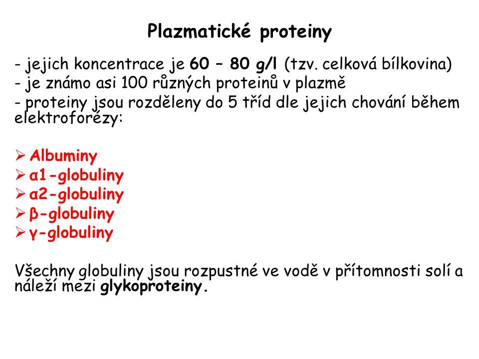 Plazmatické proteiny jejich koncentrace je 60 – 80 g/l (tzv. celková bílkovina) je známo asi 100 různých proteinů v plazmě.