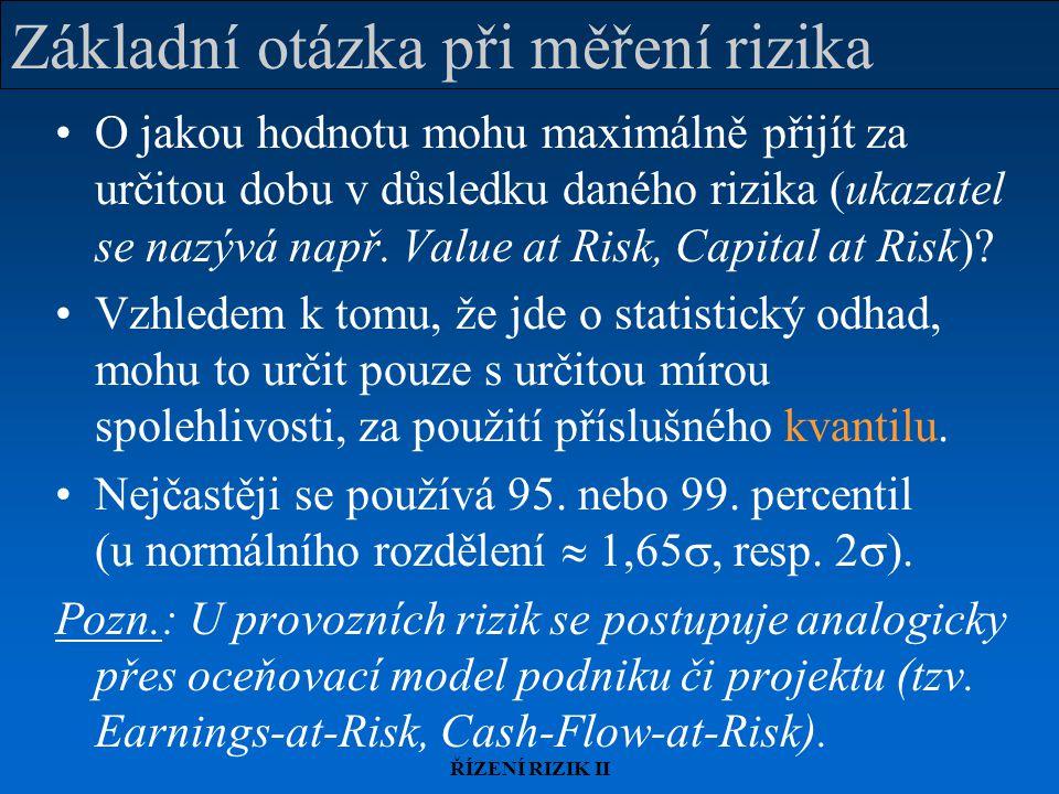 Základní otázka při měření rizika