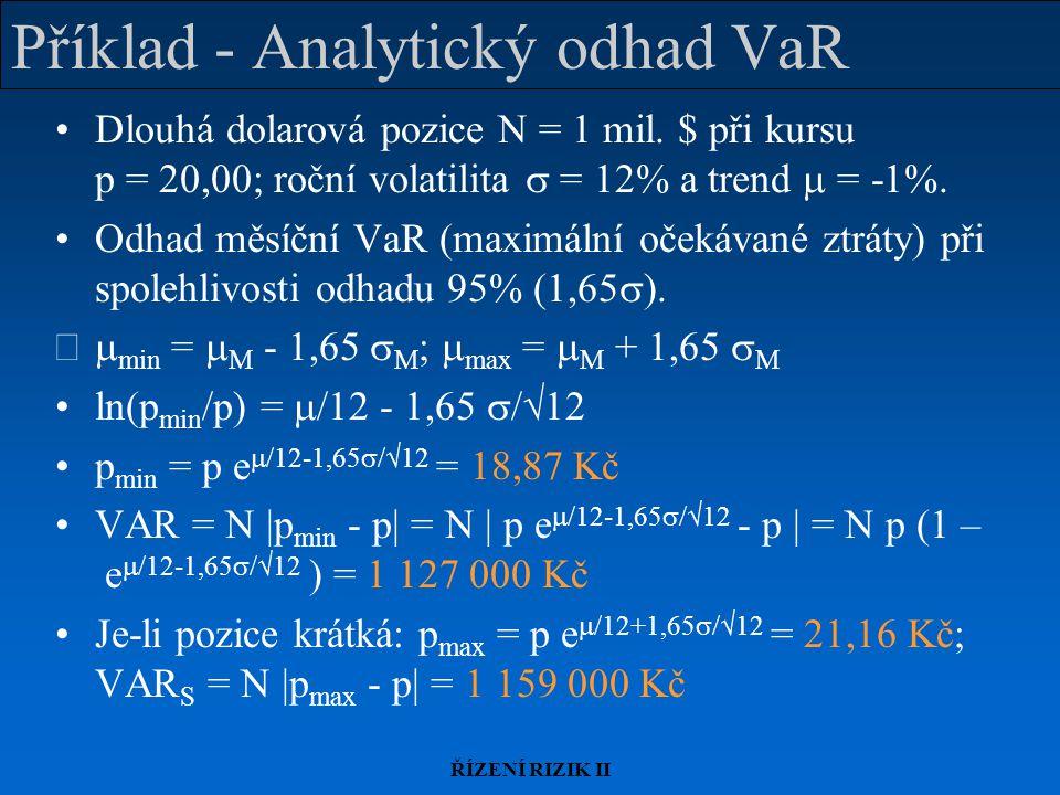 Příklad - Analytický odhad VaR