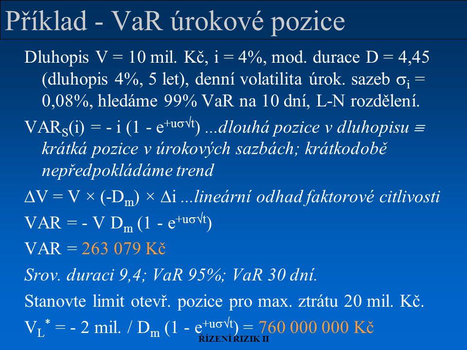 Příklad - VaR úrokové pozice