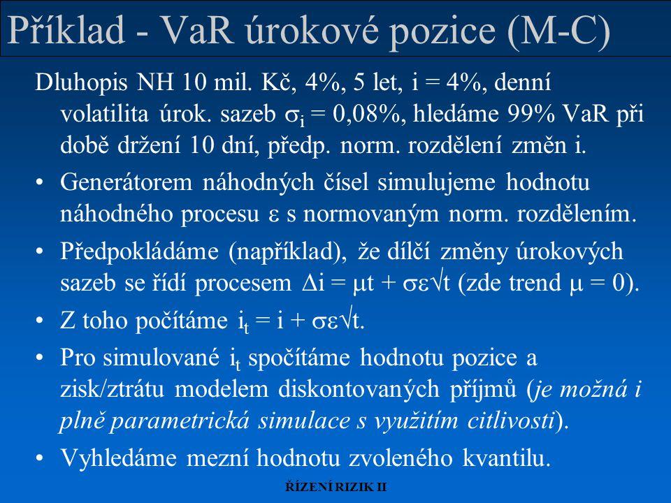 Příklad - VaR úrokové pozice (M-C)