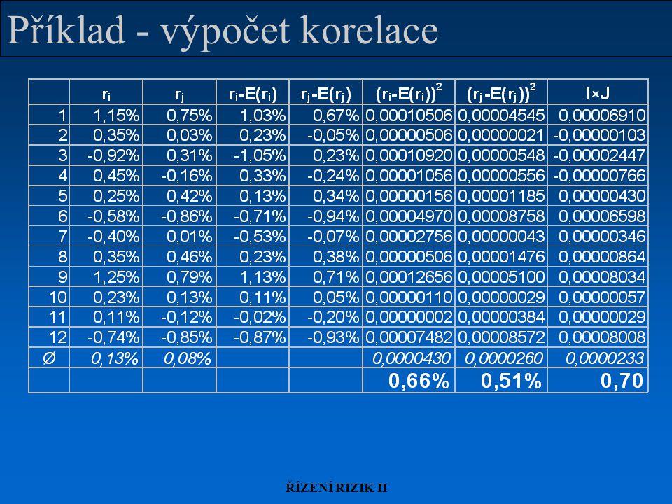 Příklad - výpočet korelace