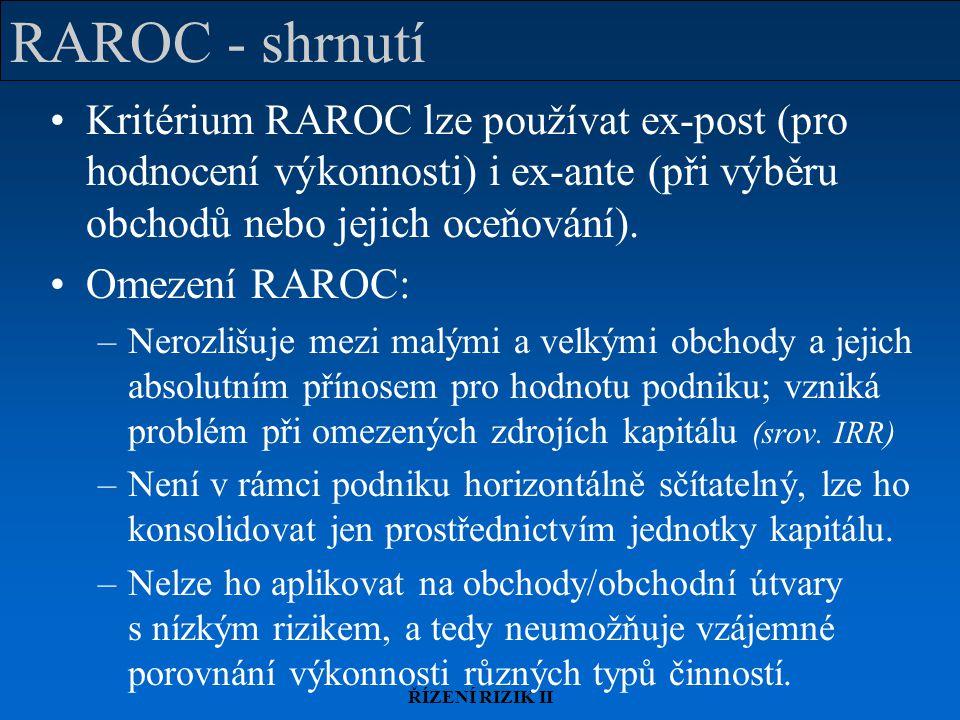 RAROC - shrnutí Kritérium RAROC lze používat ex-post (pro hodnocení výkonnosti) i ex-ante (při výběru obchodů nebo jejich oceňování).