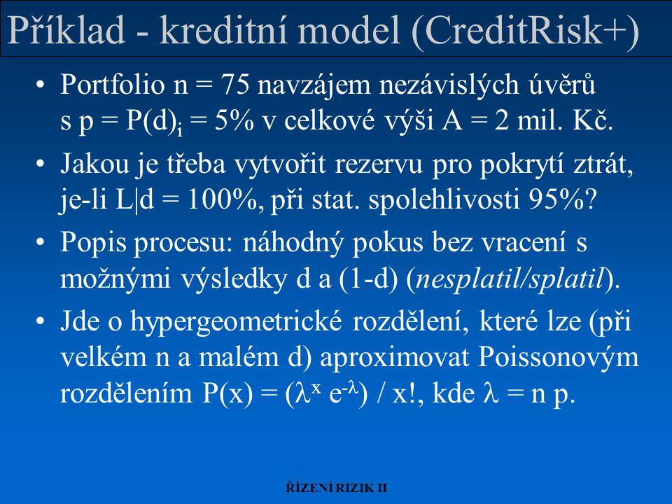 Příklad - kreditní model (CreditRisk+)