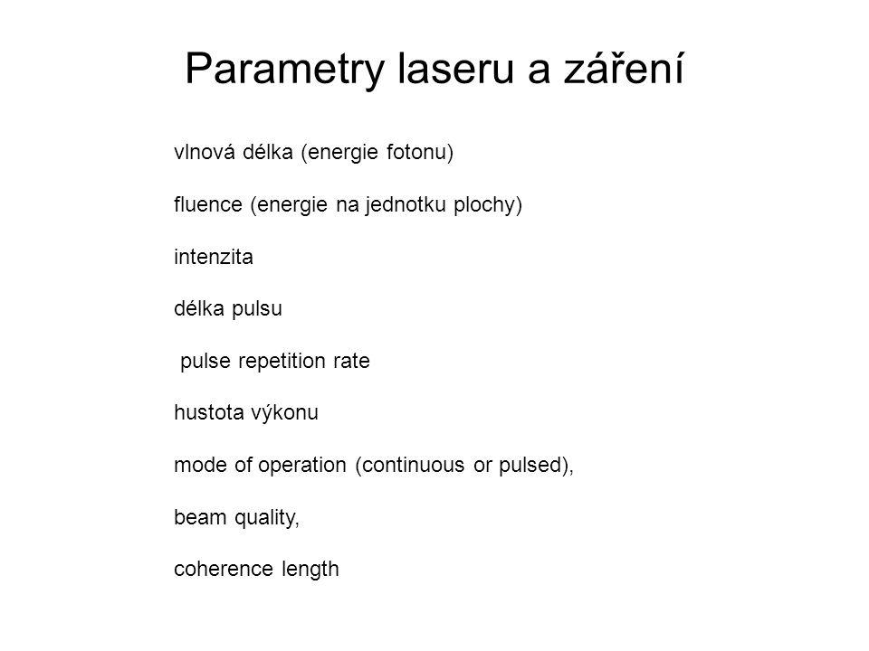 Parametry laseru a záření