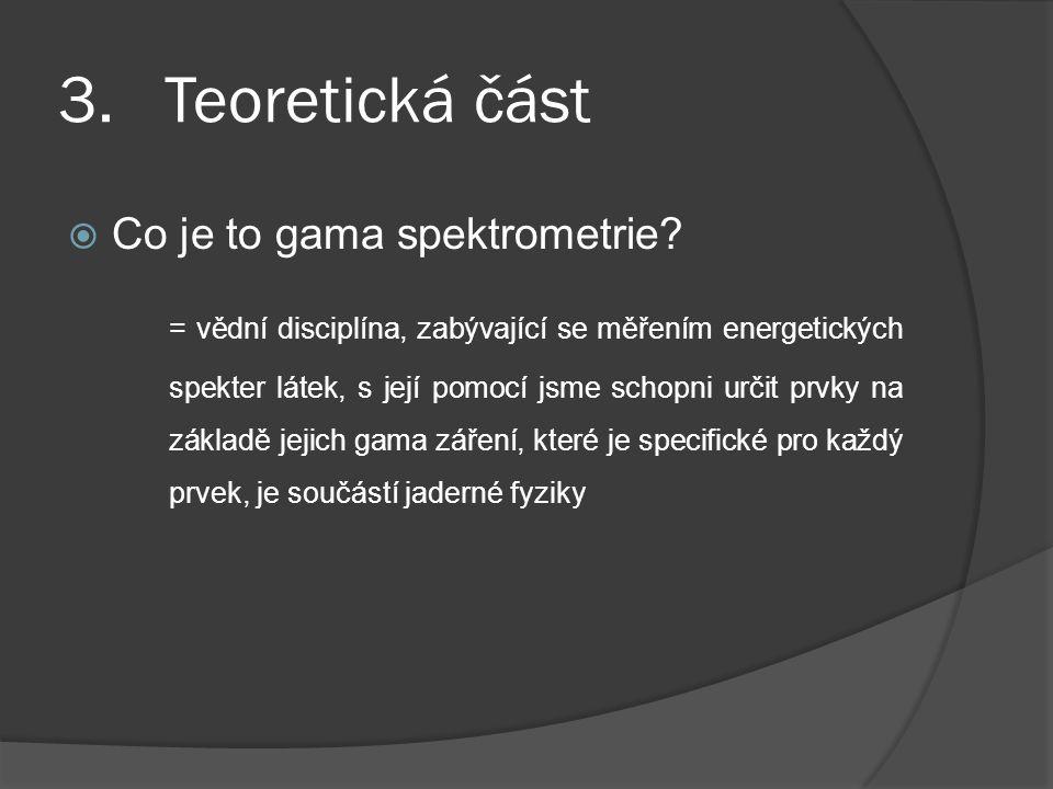 3. Teoretická část Co je to gama spektrometrie