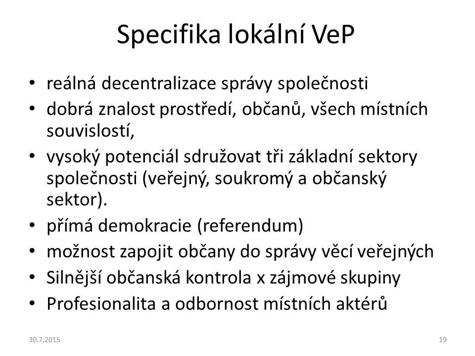 Specifika lokální VeP reálná decentralizace správy společnosti