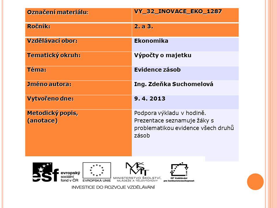 Označení materiálu: VY_32_INOVACE_EKO_1287. Ročník: 2. a 3. Vzdělávací obor: Ekonomika. Tematický okruh: