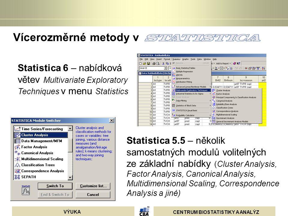 Vícerozměrné metody v Statistica 6 – nabídková větev Multivariate Exploratory Techniques v menu Statistics.