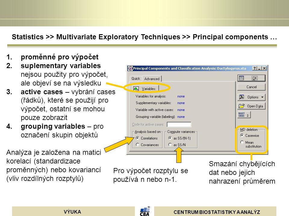 Statistics >> Multivariate Exploratory Techniques >> Principal components …