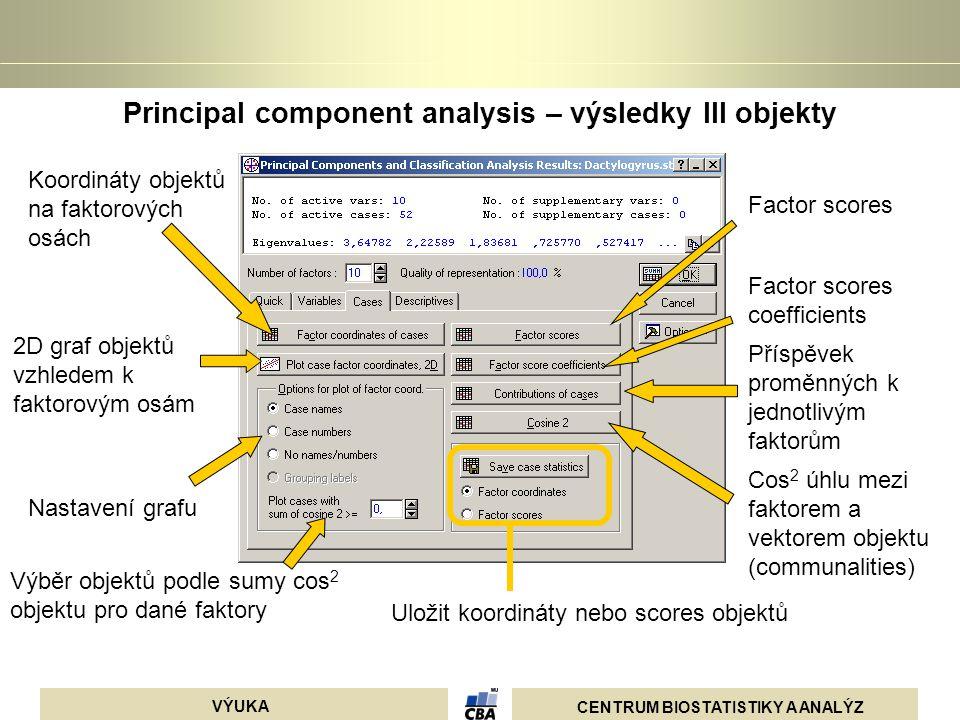 Principal component analysis – výsledky III objekty