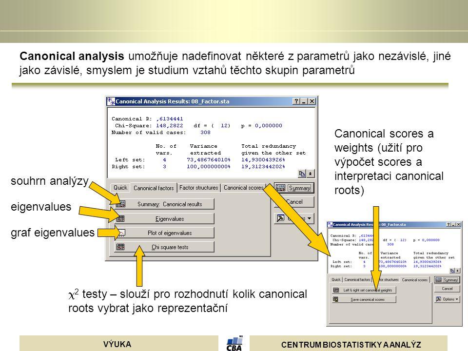 Canonical analysis umožňuje nadefinovat některé z parametrů jako nezávislé, jiné jako závislé, smyslem je studium vztahů těchto skupin parametrů