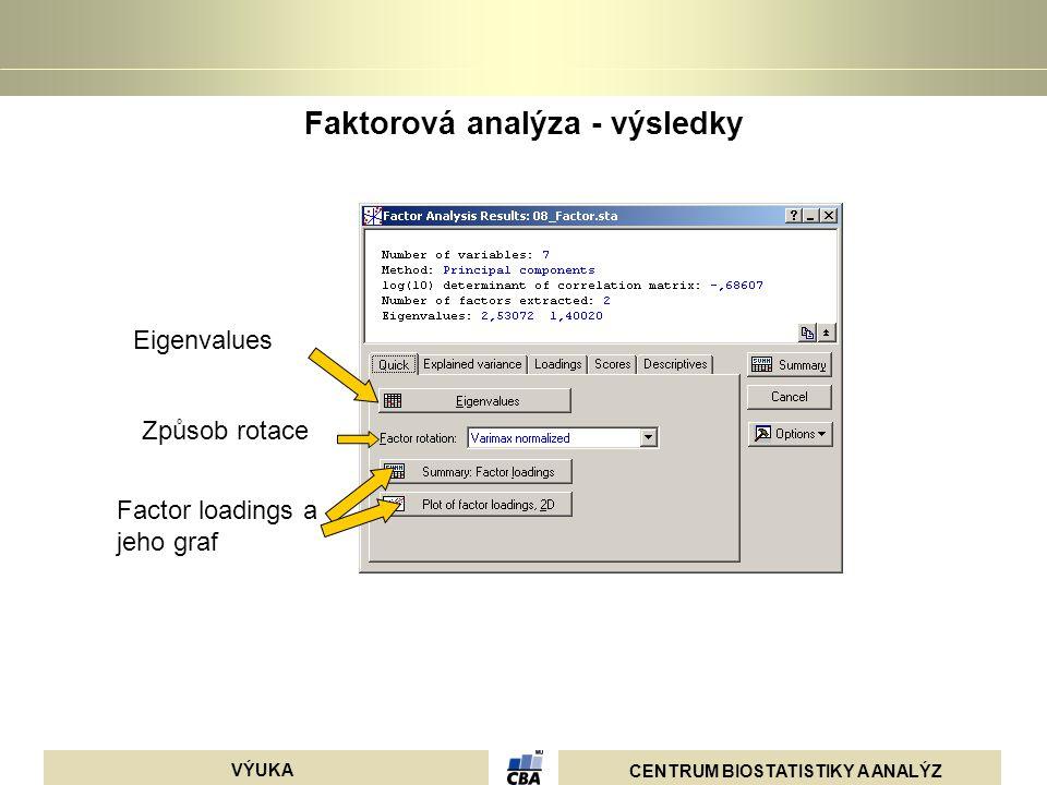 Faktorová analýza - výsledky