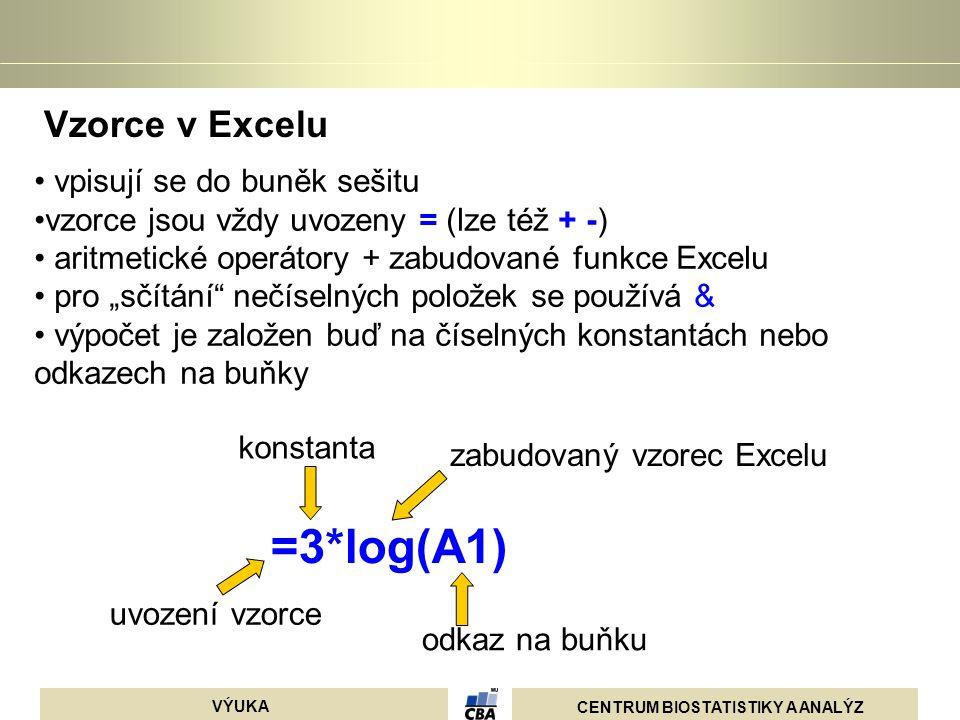 =3*log(A1) Vzorce v Excelu vpisují se do buněk sešitu